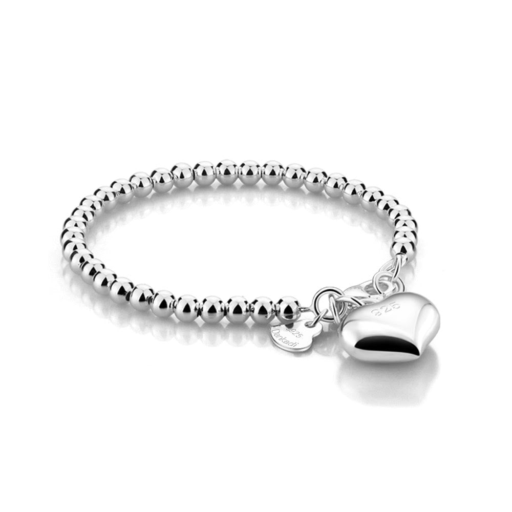 Baby and Children's Bracelets:  Sterling Silver Premium, Hallmarked, Heart Charm Ball Bracelets 12+1cm, with Gift Box