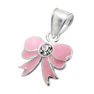 Children's Necklaces:  Sterling Silver Pink Bow Necklace Includes Your Choice of Chain Length