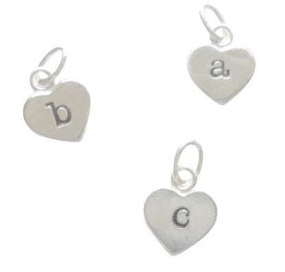 Baby and Children's Charms:  Sterling Silver Stamped Initial Heart Charms