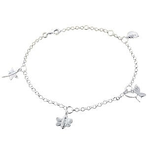 Baby and Toddler Anklet:  Sterling Silver Anklet with Butterfly, Dragonfly, Bee and Ladybug Charms