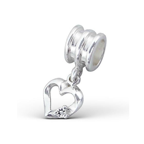 Children's European Beads:  Sterling Silver Hanging Heart with CZ