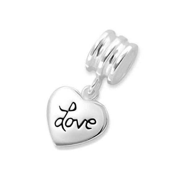 "Children's European Beads:  Sterling Silver ""Love"" Heart Beads"