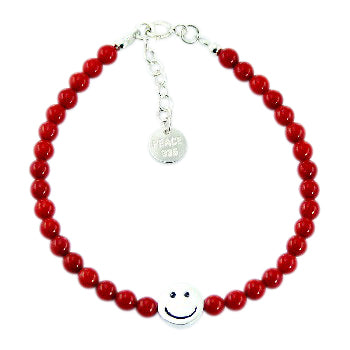 Children's and teens' Bracelets:  Sterling Silver, Red Coral Ball Bracelets with Smiley Faces