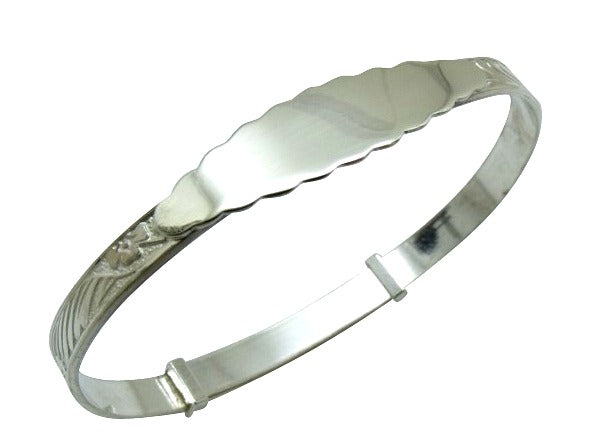 Children's Bracelets:  Sterling Silver Adjustable, Engraved, Wavy-edged ID Maid's Bangle