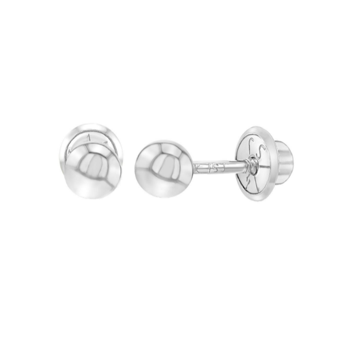 Baby Earrings:  14k White Gold Ball Stud Screw Back Earrings 3mm with Gift Box