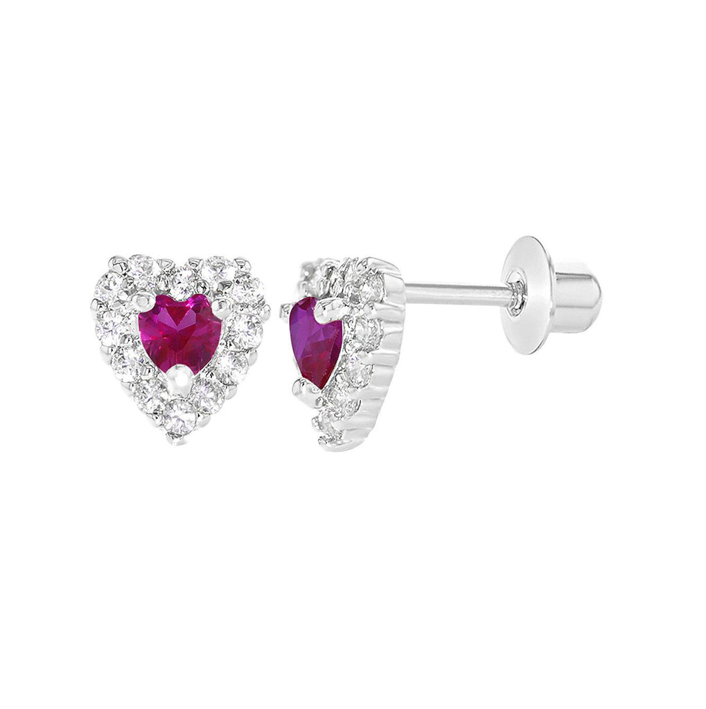 Baby and Children's Earrings:  18k White Gold Filled Fuchsia and White Hearts with Screw Backs