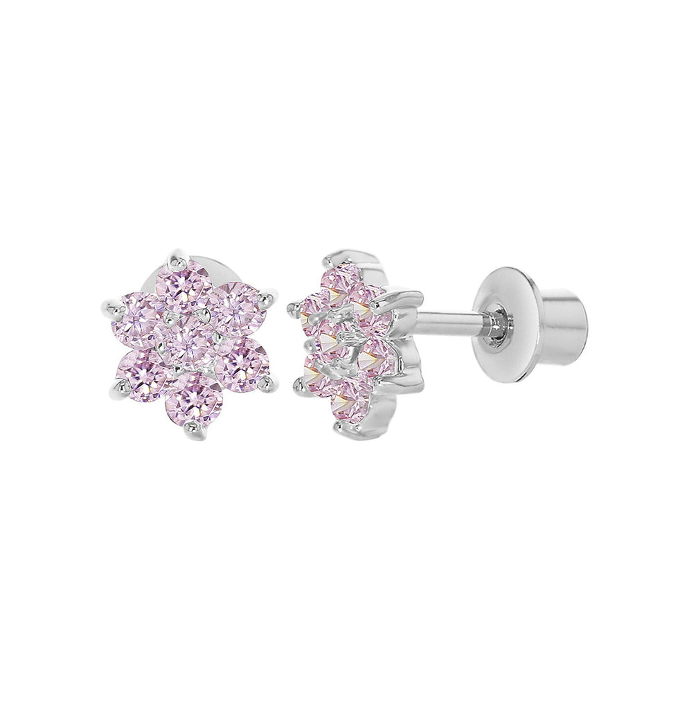 Baby and Toddler Earrings:  18k White Gold Filled, Pink CZ Flowers with Safety Screw Backs