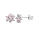 Children's Earrings:  Sterling Silver, Pink/White CZ Flowers with Safety Screw Backs