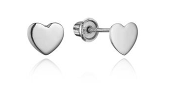 Baby Earrings:  Simple 14k White Gold Heart Earrings with Screw Backs 4mm