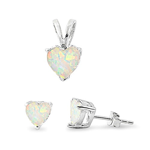 Children's Necklace and Earrings Set:  Sterling Silver, Lab Created White Opal Set