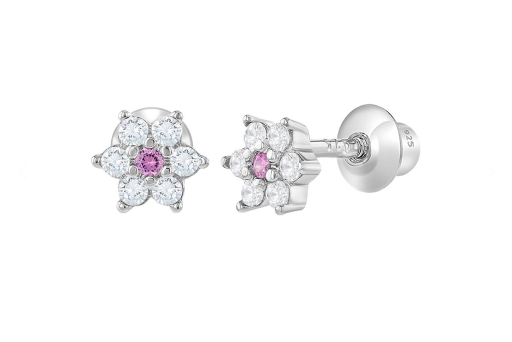 Baby and Children's Earrings:  Sterling Silver White/Pink CZ Flowers with Screw Backs 5mm
