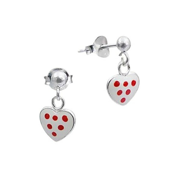 Children's Earrings:  Sterling Silver, White Dangly Hearts With Red Dots