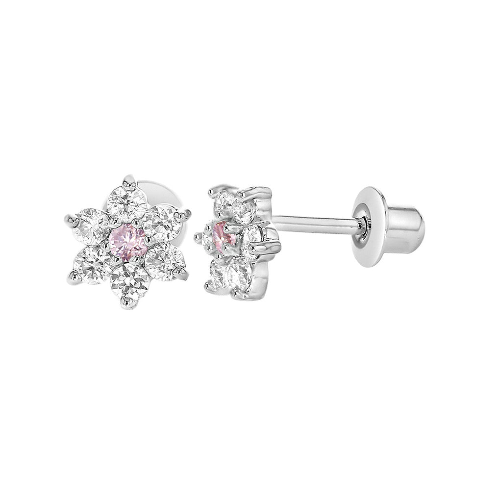 Baby Earrings:  18k White Gold Filled White/Pink Flowers with Screw Backs