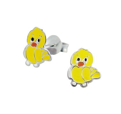 Baby and Children's Earrings:  Sterling Silver Yellow Chicks