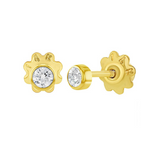 Baby and Children's Earrings:  14k Gold Bezel Set CZ Easy Grip Screw Back Earrings with Gift Box