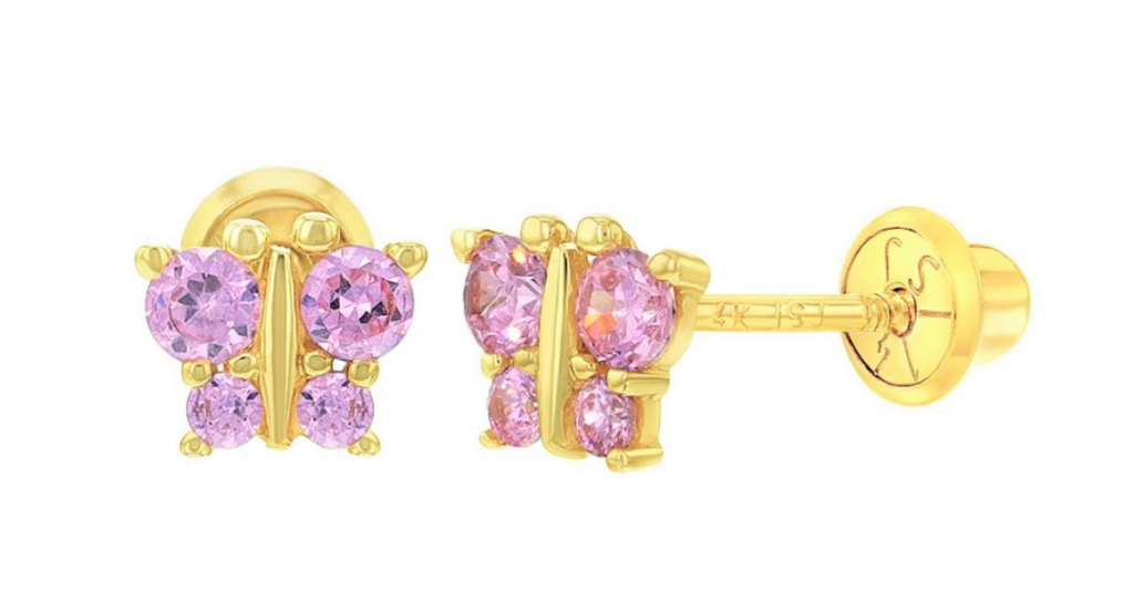 Baby and Children's Earrings:  14k Gold Pink CZ Butterflies with Screw Backs with Gift Box