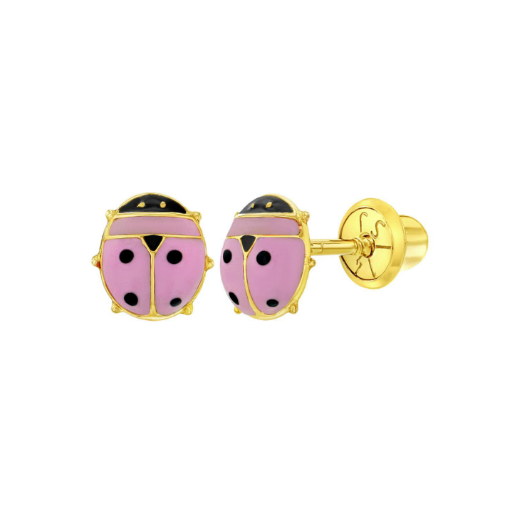 Baby Earrings:  14k Gold, Pink Enamelled Ladybugs with Screw Backs and Gift box