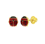 Baby and Children's Earrings:  14k Gold Enamelled Ladybugs with Screw Backs and Gift Box