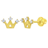 Baby and Children's Earrings:  14k Gold Princess Crown Earrings with Screw Backs and Gift Box