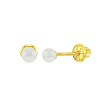 Baby Earrings:  14k Gold 3mm Simulated Pearl Earrings with Screw Backs and Gift Box