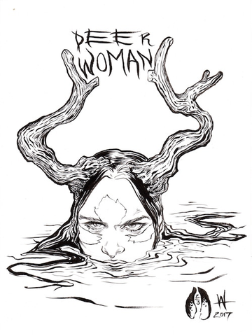 Deer Woman Sticker (B/W Small)