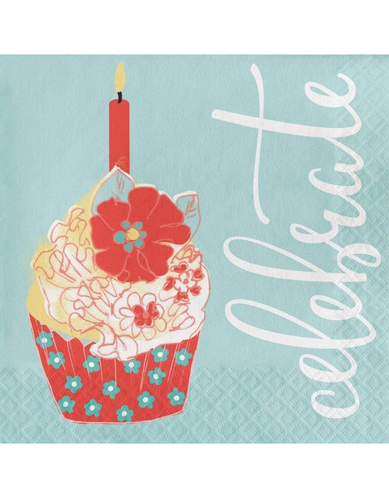 CELEBRATE-CUPCAKE LUNCH  NAPKINS 16CT