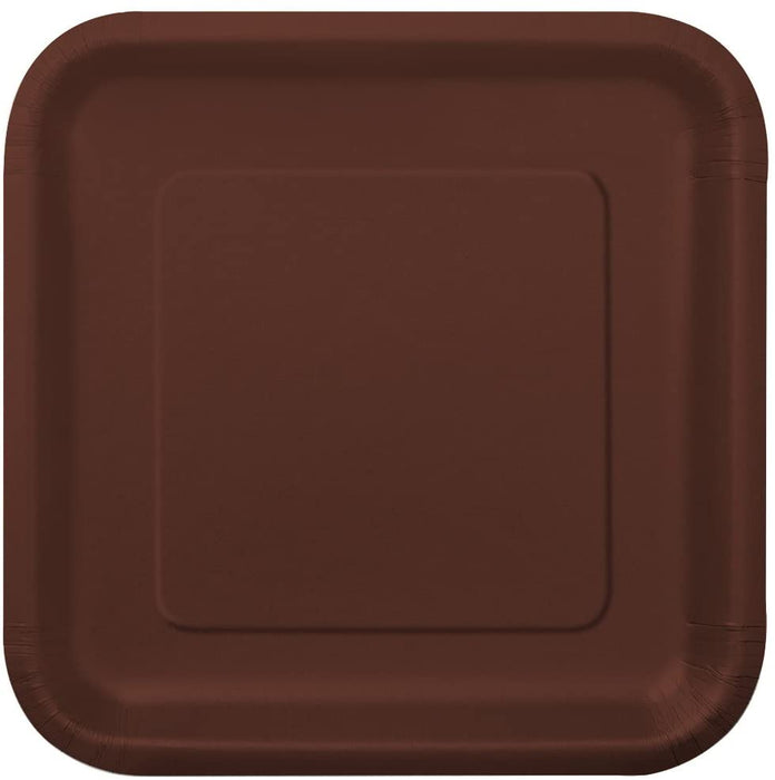 "9"" BROWN SQUARE LUNCH PAPER PLATES 14CT"