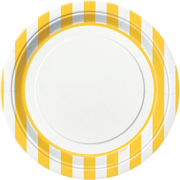 "9"" YELLOW STRIPE PRINT LUNCH PLATES 8CT"