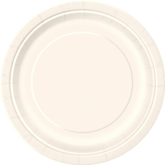 "9"" IVORY ROUND LUNCH PAPER PLATES 16CT"