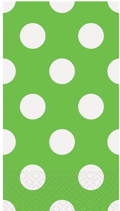 LIME GREEN POLKA DOTS GUEST NAPKINS 16CT