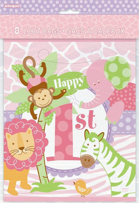 PINK SAFARI FIRST BIRTHDAY LOOT BAGS 8CT