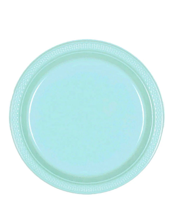 "9"" ROBINS EGG BLUE PLASTIC PLATES 20CT"