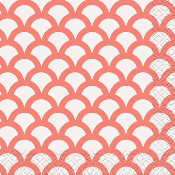 CORAL SCALLOP BEVERAGE NAPKINS 16CT