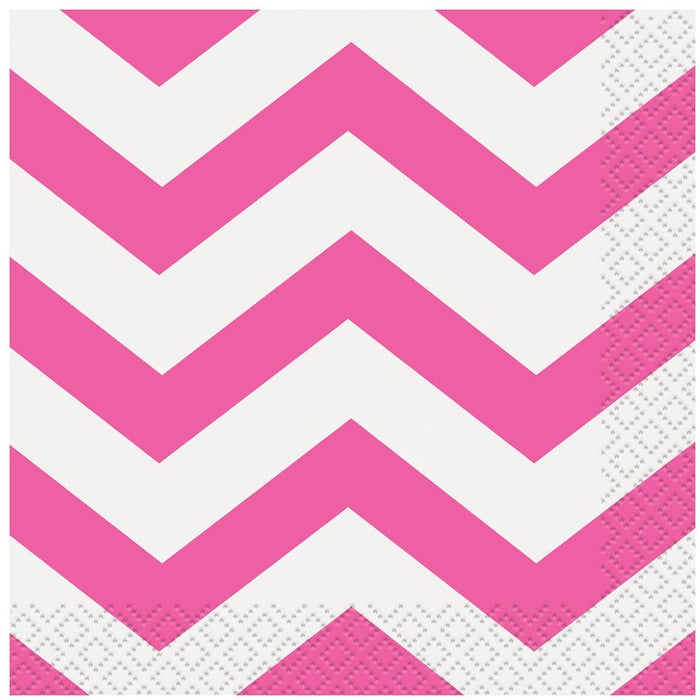 HOT PINK CHEVRON LUNCH NAPKINS 16CT