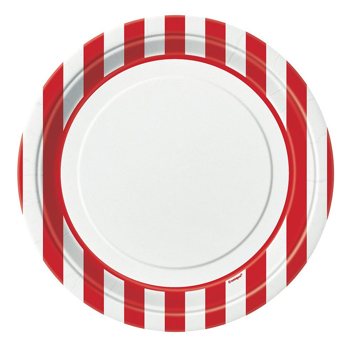 "9"" RED STRIPED PRINT LUNCH PLATES 8CT"