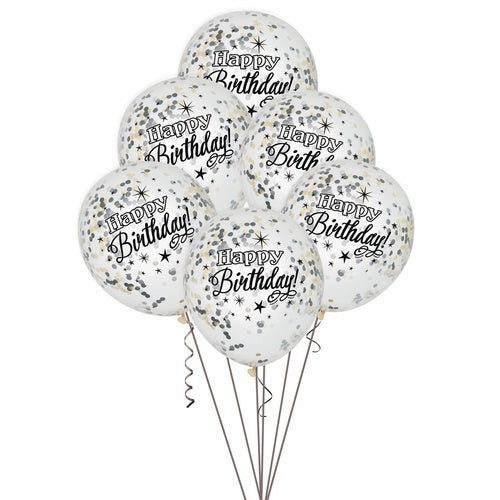 "12"" CLEAR LATEX ""HAPPY BIRTHDAY"" BALLOONS WITH  CONFETTI"