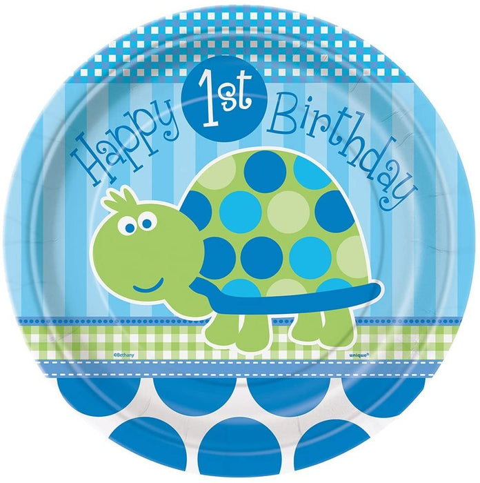 "9"" FIRST BIRTHDAY TURTLE LUNCH PLATES"