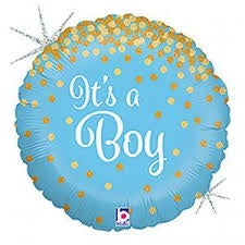 "18"" IT'S A BOY GLITTER HOLOGRAPHIC FOIL BALLOON"