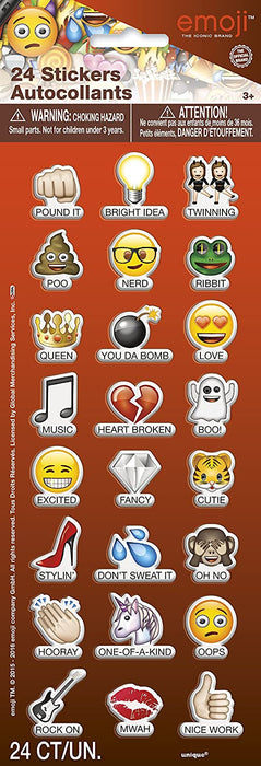 "EMOJI ""SAYINGS"" PUFFY STICKER SHEET 24CT"