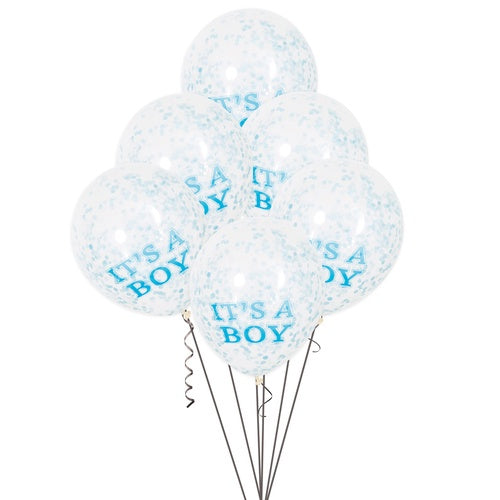 "12"" CLEAR LATEX ""IT' A BOY"" BALLOONS WITH BLUE CONFETTI"