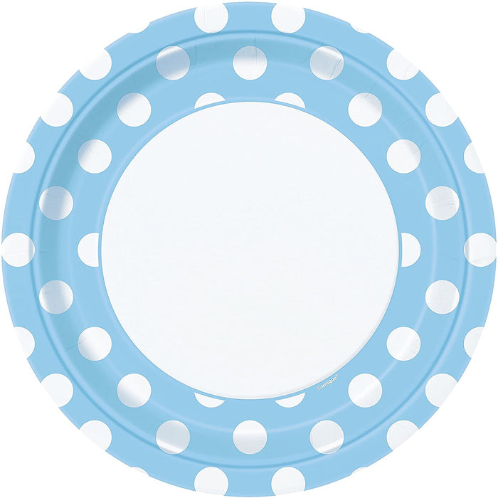 "9"" LIGHT BLUE POLKA DOTS LUNCH PLATES 8CT"