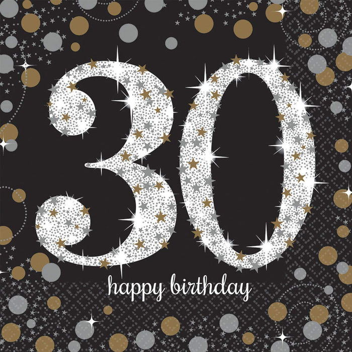 30TH SPARLKING CELEBRATION BEVERAGE NAPKINS 16CT