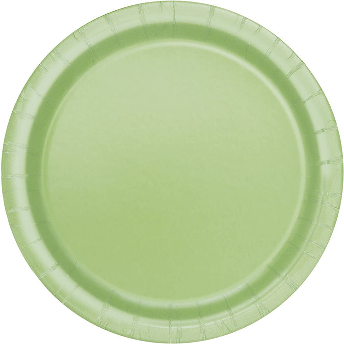 "7"" APPLE GREEN ROUND DESSERT PAPER PLATES 20CT"