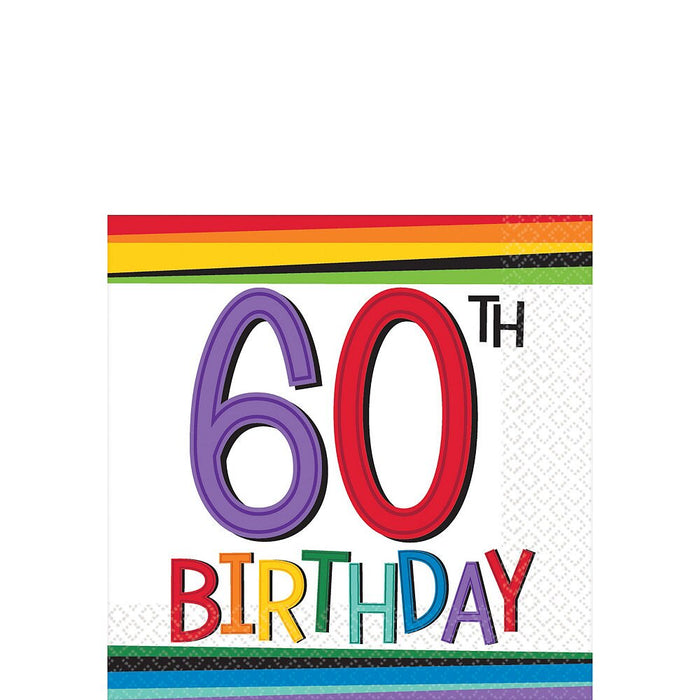 60TH RAINBOW BIRTHDAY BEVERAGE NAPKINS 16CT