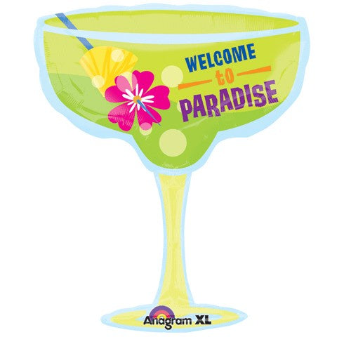 "28"" MARGARITA GLASS WELCOME TO PARADISE FOIL BALLOON"