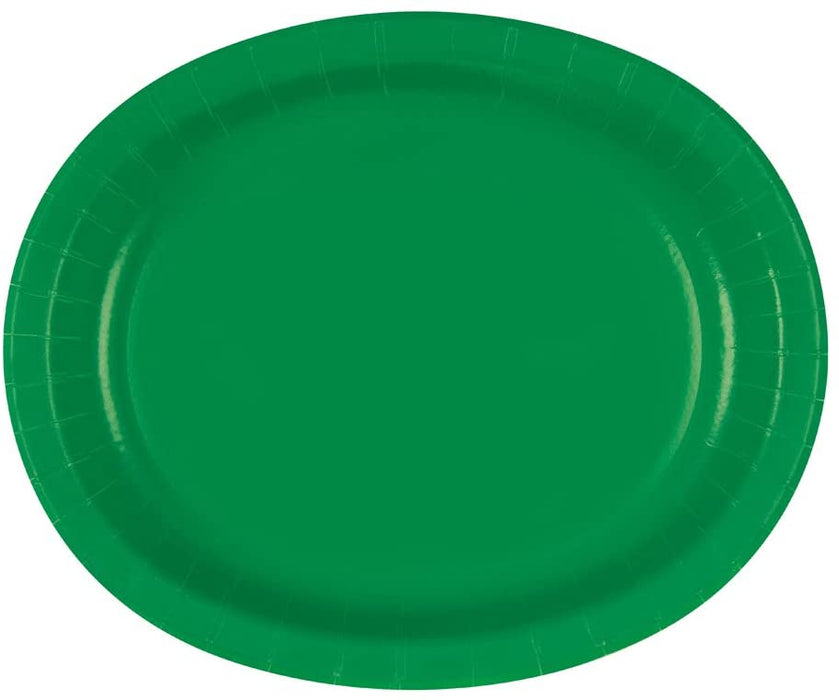 OVAL EMERALD GREEN PAPER PLATES  8CT