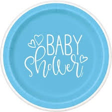 "9"" BLUE HEARTS BABY SHOWER PAPER LUNCH PLATE 8CT"