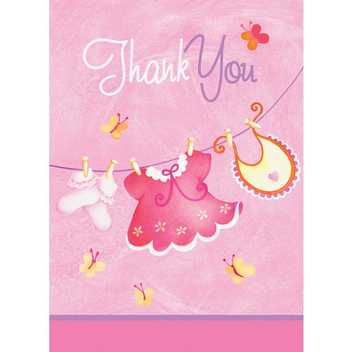 PINK CLOTHESLINE THANK YOU CARDS 8CT