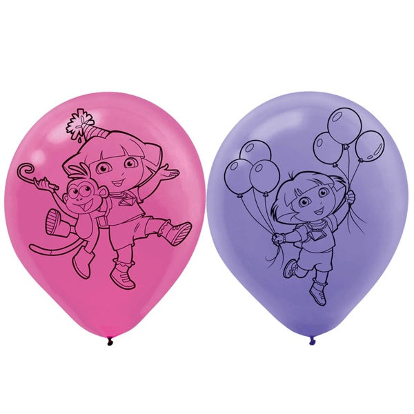 "12"" DORA THE EXPLORER  LATEX BALLOON 6PK"