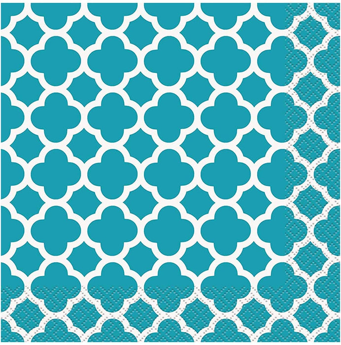 CARIBBEAN TEAL TQUATREFOIL LUNCH NAPKINS 16CT
